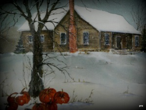 watercolor of an old home, snow and the last of the pumpkins